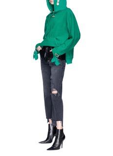 Collina Strada 耳环缀饰镂空连帽卫衣