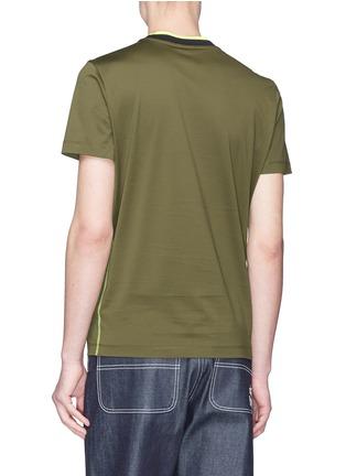 背面 - 点击放大 - MONCLER - 拼色条纹衣领纯棉T恤