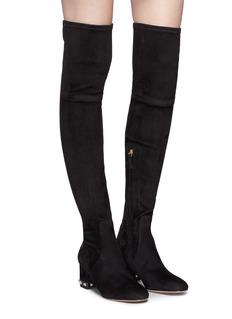 Valentino Rockstud金属铆钉绒面真皮粗跟过膝长靴