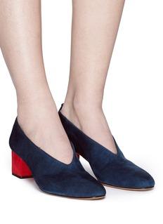 Gray Matters MILDRED拼色绒面皮奶奶鞋