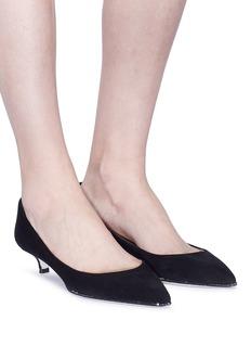 RENÉ CAOVILLA 仿水晶围边绒面真皮高跟鞋