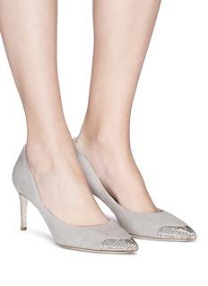 RENÉ CAOVILLA 仿水晶点缀绒面真皮高跟鞋