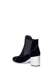 RENÉ CAOVILLA 仿水晶粗跟天鹅绒短靴