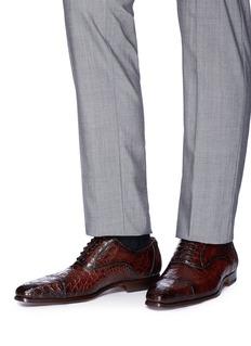 Magnanni 系带设计鳄鱼皮牛津鞋