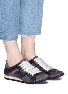 PEDRO GARCÍA Cristina绒面牛皮拼接真丝缎面运动鞋