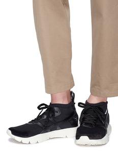 Valentino Sound High小牛皮拼接针织运动鞋