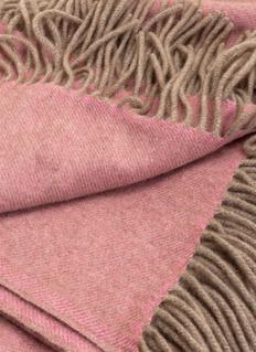 OYUNA Uno流苏围边羊绒毯-粉色混色