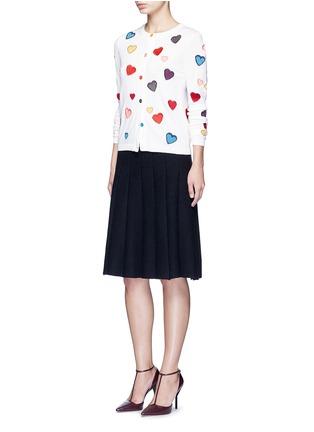 模特示范图 - 点击放大 - alice + olivia - LARI心形刺绣羊毛针织外套