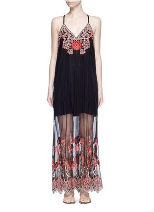 首图 - 点击放大 - alice + olivia - Sally花卉刺绣吊带连衣裙