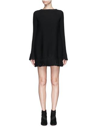 首图 - 点击放大 - ALAÏA - Sparte流苏装饰单色混羊毛连衣裙