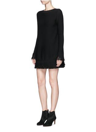模特示范图 - 点击放大 - ALAÏA - Sparte流苏装饰单色混羊毛连衣裙