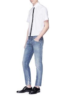 DOLCE & GABBANA 品牌名称条纹混棉衬衫