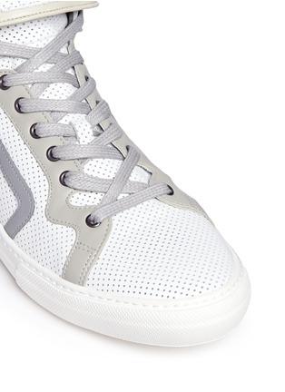 细节 - 点击放大 - PIERRE HARDY - 网眼牛皮拼色高筒运动鞋