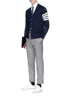 THOM BROWNE 条纹点缀美丽诺羊毛针织外套