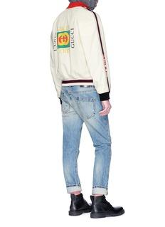 GUCCI 品牌标志镂空小羊皮棒球夹克
