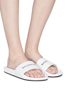 BALENCIAGA Pool品牌标志真皮平底拖鞋