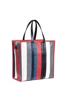 BALENCIAGA Bazar Shopper中号拼色条纹真皮托特包