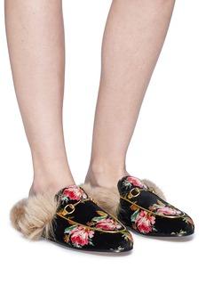 GUCCI Princetown花卉印花小羊毛天鹅绒乐福拖鞋