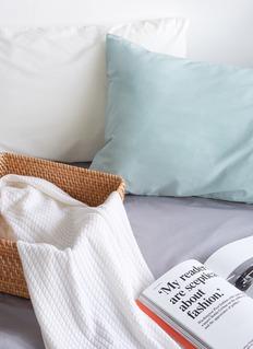 LANE CRAWFORD 绞花纹羊绒针织毯-米色