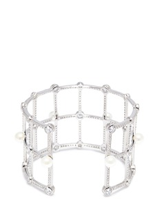 HEFANG Duomo人造锆石及贝壳珍珠几何手镯