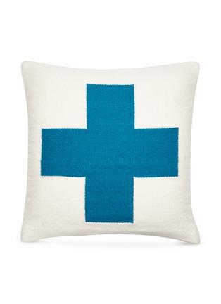 首图 –点击放大 - Jonathan Adler - Cross两面用十字图案羊毛羽绒靠垫-绿松石色及深蓝色