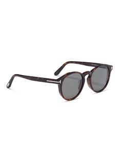 TOM FORD Lan玳瑁板材圆框太阳眼镜