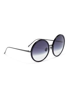 Linda Farrow 板材拼接金属圆框太阳眼镜