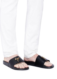 GIUSEPPE ZANOTTI DESIGN Brett金属品牌标志小牛皮拖鞋