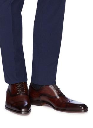 模特儿示范图 - 点击放大 - Magnanni - 纹理真皮系带鞋