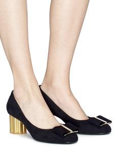 SALVATORE FERRAGAMO Capua花形粗跟蝴蝶结绒面真皮高跟鞋