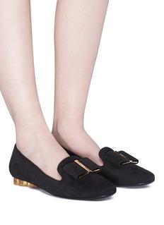 SALVATORE FERRAGAMO Sarno花形鞋跟绒面真皮乐福鞋