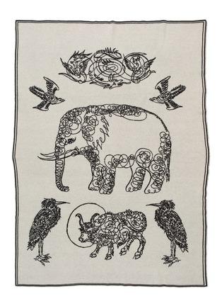 首图 –点击放大 - SAVED - 大象及朋友提花羊绒毛毯