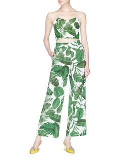 alice + olivia Archer棕榈叶印花吊带短款上衣