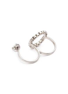 JOOMI LIM Grandmistress金属圆环仿水晶双指戒指