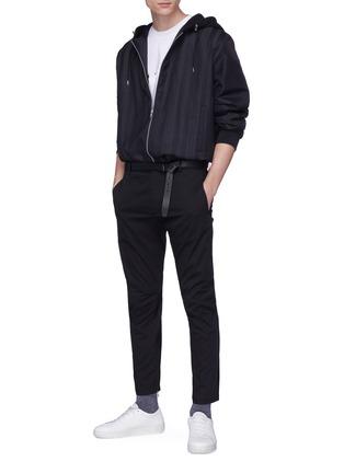 模特儿示范图 - 点击放大 - Lanvin - 反光条纹品牌名称纯棉T恤