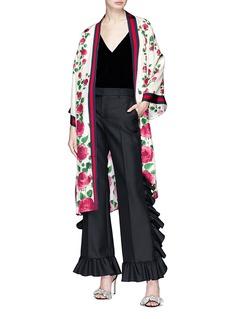 GUCCI 玫瑰印花拼色条纹缎面和服外套