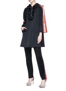 GUCCI 品牌名称拼色条纹荷叶边连帽连衣裙