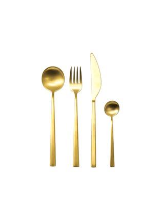 首图 –点击放大 - MEPRA - Movida拉丝不锈钢餐具24件套-金色
