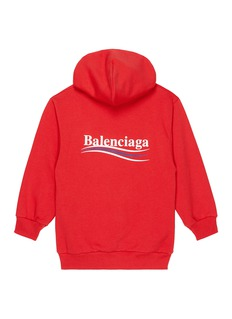BALENCIAGA 儿童款品牌标志混棉连帽卫衣