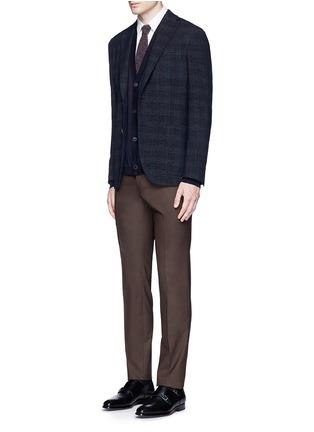 模特儿示范图 - 点击放大 - BOGLIOLI - 格纹混羊毛西服外套