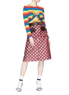 GUCCI 泰迪熊图案彩虹条纹针织衫