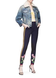 GUCCI 花卉刺绣侧条纹棉质露踝裤