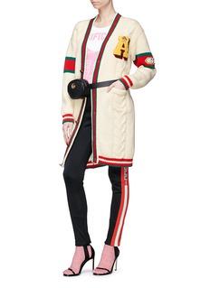 GUCCI GUCCY虎头徽章拼色条纹羊毛针织外套