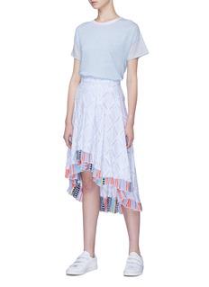 LEMLEM Besu拼接裙摆褶裥条纹半身裙