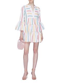 CAROLINE CONSTAS Lyssa喇叭袖闪亮条纹连衣裙