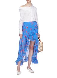 CAROLINE CONSTAS Adelle不对称荷叶边花卉缎面半裙