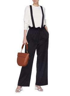 TIBI 可拆式背带直脚纸袋长裤