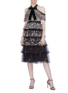 NEEDLE & THREAD Zelda花卉刺绣天鹅绒系带挖肩蛋糕裙