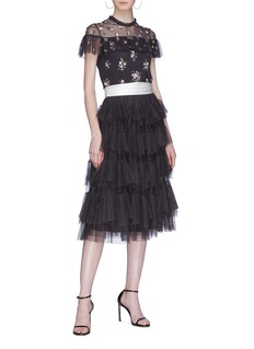 NEEDLE & THREAD 层叠荷叶边系带薄纱半身裙