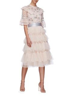 NEEDLE & THREAD 波点提花薄纱系带蛋糕裙